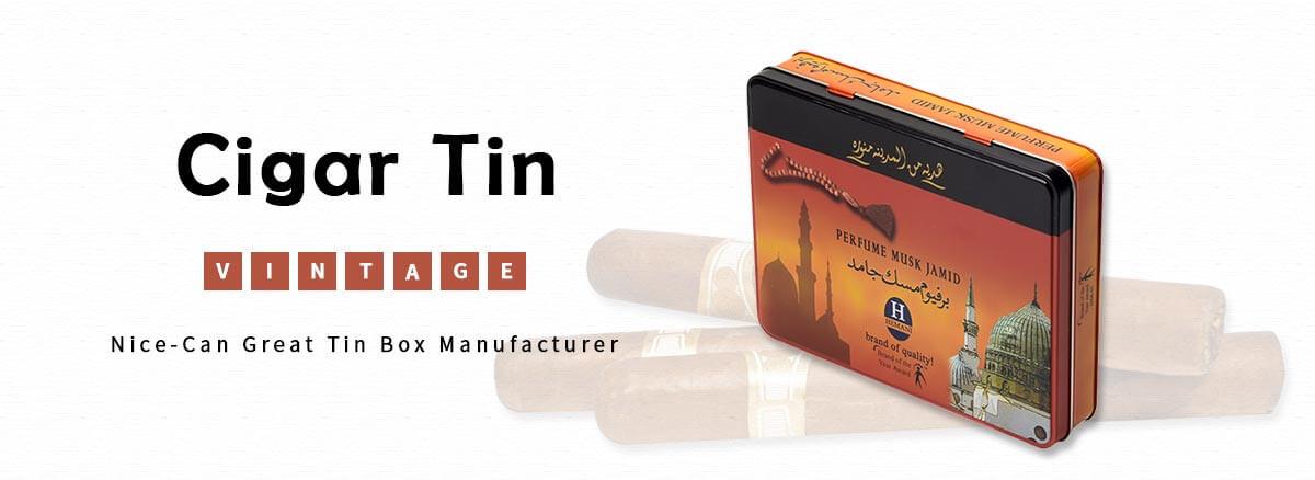 Cigarette tin box hinged lid