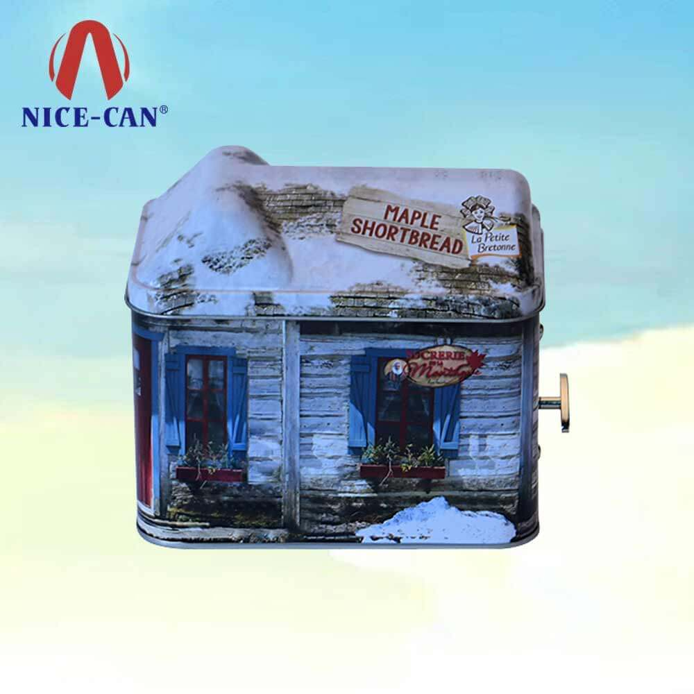 Rectangle house wholesale cookie cans novelty musical funny biscuit tin box
