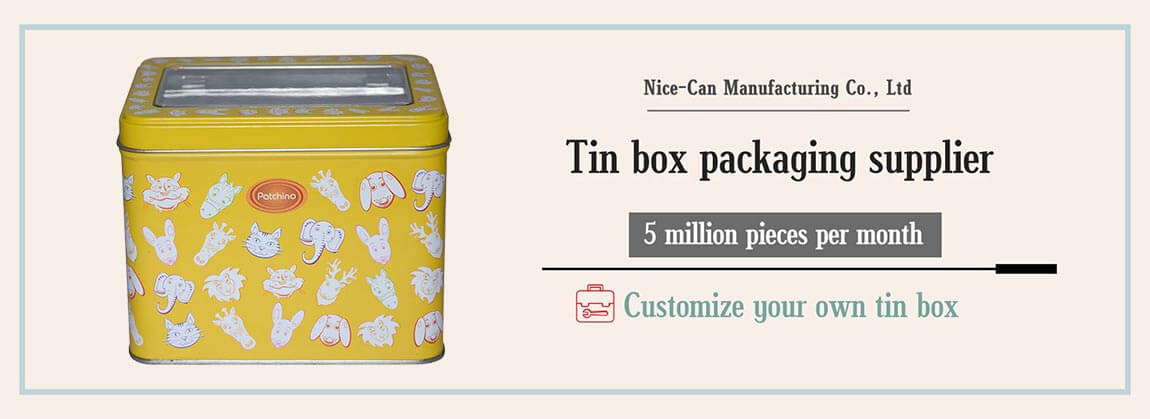 rectangle tin box with clear window hinged lid