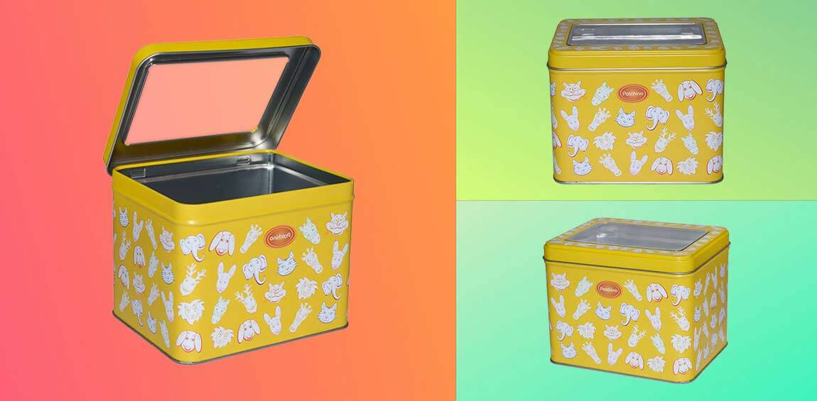 rectangle tin box with clear window candy chocolate