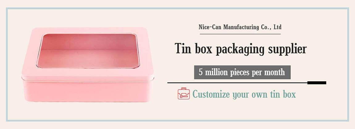 metal tin box with window rectangular