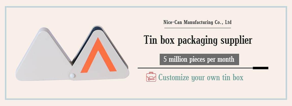 triangle metal tin box