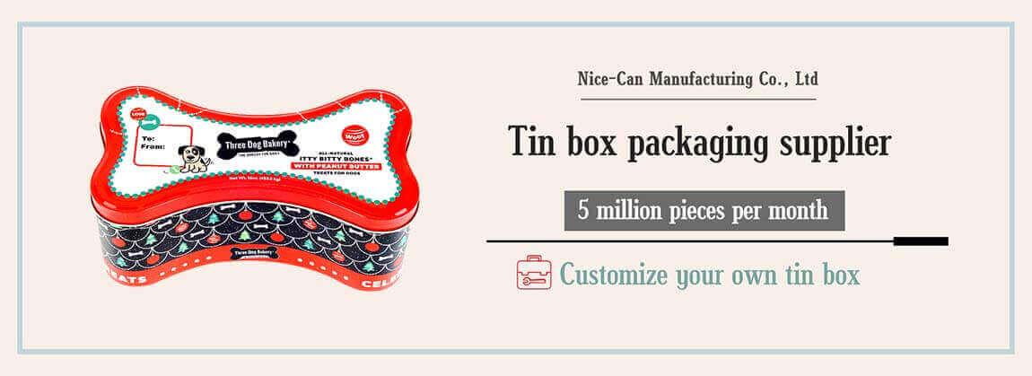 dog bone shaped tin box dog food